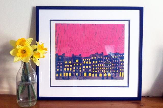 'Houses' Original Linoleum Print