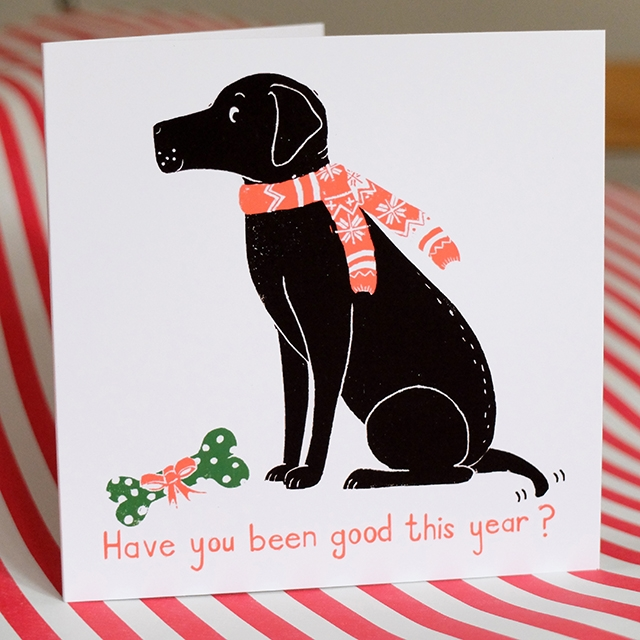 Linoprint Labrador Xmas cards by ten and sixpence