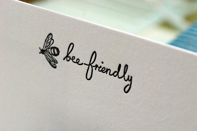 'bee friendly' letterpress