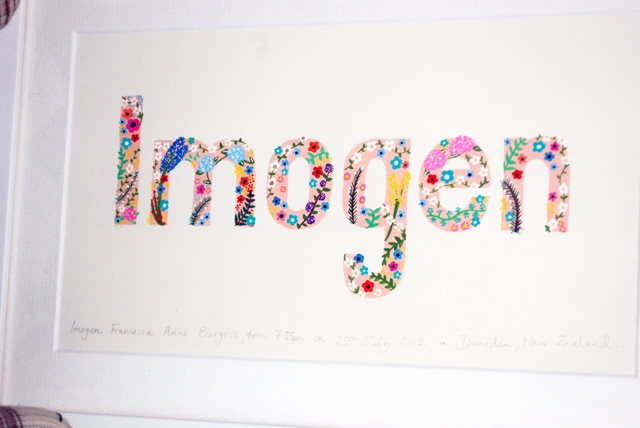 'blooms' hand-painted children's name