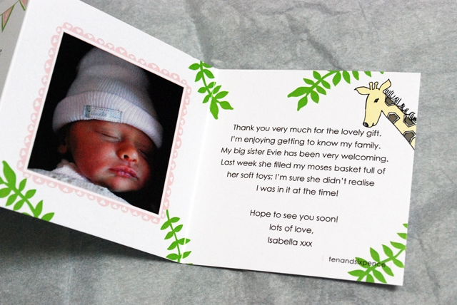 Jungle Baby Photo Thank You Card