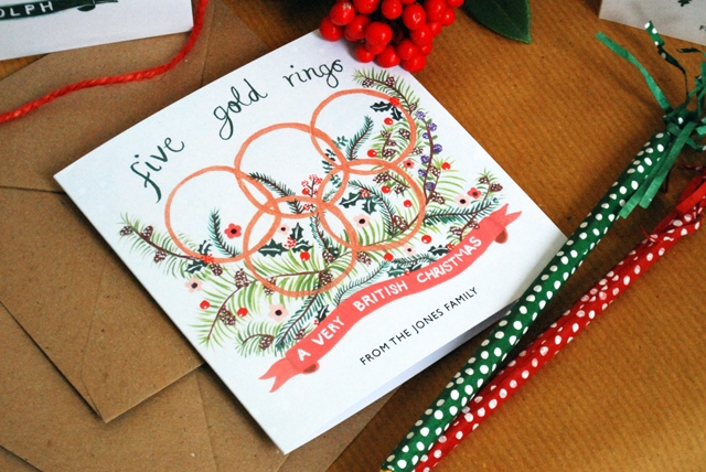 Personalised 'Five Gold Rings' Christmas Cards