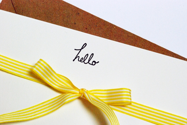 'hello' letterpress cards