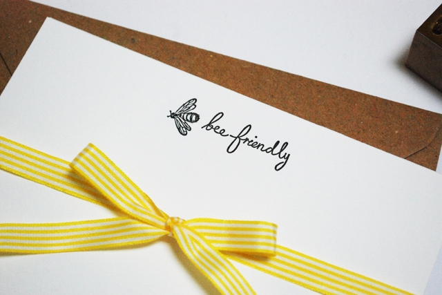'bee friendly' letterpress